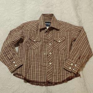 Boys Wrangler Long Sleeve Button Down Shirt 5-6